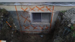 Outline of egress window cut out
