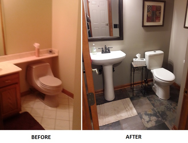 before and after slate tile install